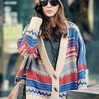 New Korea Womens Bohemian Tribal Sweater Jumpers Cardigans Jacket Coat