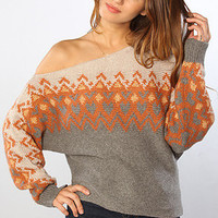 The Heartisle Sweater in Pumpkin Pie Combo