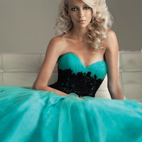A-line Sweetheart Floor-length Tulle Popular Prom Dress with Lace at Msdressy