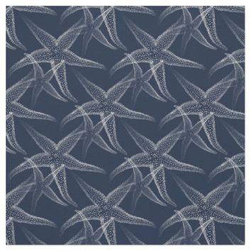 Starfish Navy Blue Beach Fabric