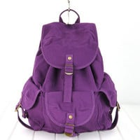 New Woman&#x27;s Purple Canvas Backpacks Strap Closures School Bags Satchels FB246-4
