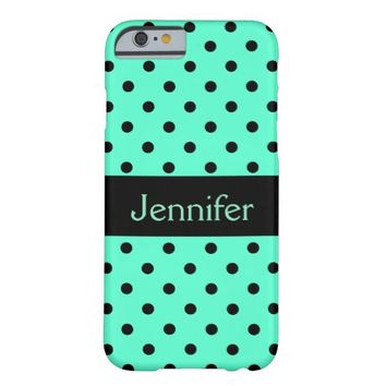 Mint Black Polka Dots - Personalized iPhone 6 Case