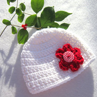 White Newborn Hat with red Flower and Chevron Button, Baby Girl Crochet Newborn to 3 months Cap by Crocheted by Charlene
