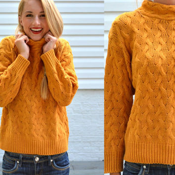 Vintage Fashion Avenue Petites Mustard Yellow Crop Knit Sweater Womens XS Small Vintage Jumper Yellow Turtle Neck Sweater Boho Chic Fall