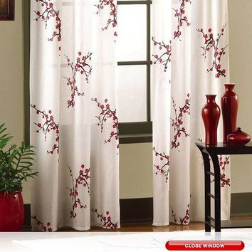 Asian Cherry Blossom Red Floral Window From Bonanza