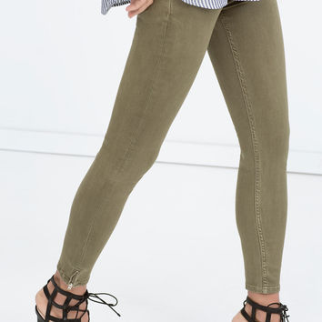 Ankle-zip viscose skinny trousers