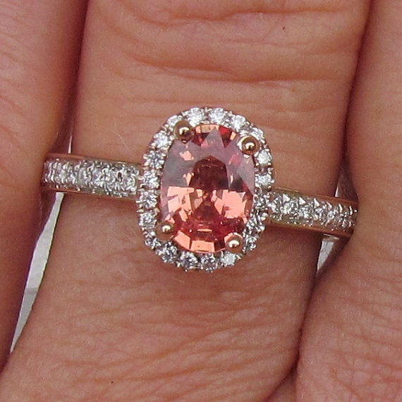 apricot colored sapphire in oval from pristine jewelry