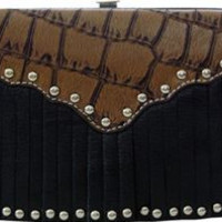 Wallet with Fringe by Texas Leather MFG {Black/Brown} | 500453BK