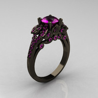 Classic 14K Black Gold 1.0 CT Amethyst Blazer Wedding Ring R203-14KBGAM