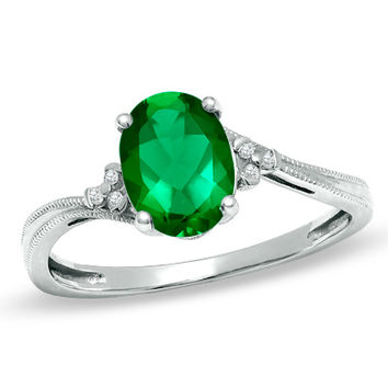 Oval Lab-Created Emerald Fashion Ring in 10K White Gold with Diamond Accents
