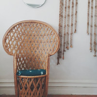 Vintage Rattan Peacock Chair / High Back Fan Chair