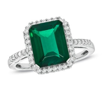 Lab-Created Emerald and White Sapphire Ring in Sterling Silver
