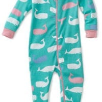 Hatley - Baby Girls Infant Whales All Over Footed Coverall $29.99