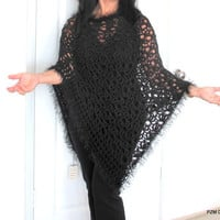 Long crochet poncho, black lacy handmade evening wrap