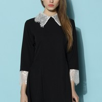 Flared Black Dress with Lace Trim