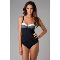 Bleu Rod Beattie Women`s Block Star Retro Cup 1 Piece Swimwear $119.00