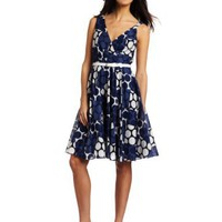 Nine West Dresses Women`s Square Dot Belted Voile Dress $134.00