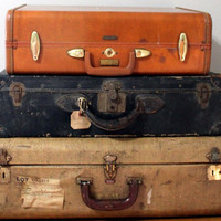 Vintage Suitcase Hard Side Leather Trimmed Mendel by keeky27