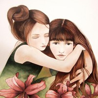 The Sisters With Lily Flowers Art P.. on Luulla
