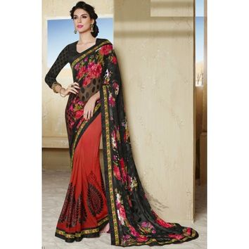 Lucious Combination Designer Saree - TheEthnicWear
