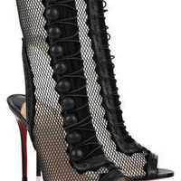 Christian Louboutin attention 100 cutout mesh and leather boots - &amp;#36;300.00