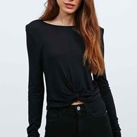 Sparkle & Fade Twist Front Crop Top in Stone - Urban Outfitters