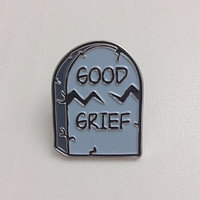 Good Grief Tombstone - Soft Enamel Lapel Pin