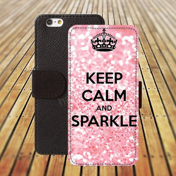iphone 5 5s case keep calm and sparkle iphone 4/ 4s iPhone 6 6 Plus iphone 5C Wallet Case , iPhone 5 Case, Cover, Cases colorful pattern L089