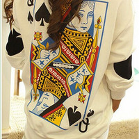 Q spades loose long-sleeved sweater EE1230H