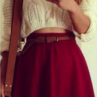 Lovely Mini Skirt and Cropped Knit Sweater T15010301