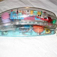 Vintage 1980&#x27;s Transparent Clear Plastic Telephone Wall Mount or Desk Top