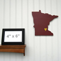 "Minnesota Golden Gophers  ""State Heart"" wall art, handcrafted wood with official team colors"