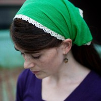 $15 TRIMMED cotton headcovering hair head covering by GarlandsOfGrace
