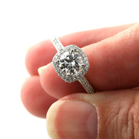 14K Diamond Halo Semi Mount Engagement Ring 14K 18K White Yellow Gold Platinum Palladium Bridal Jewelry