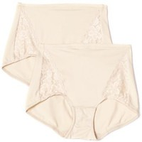 Flexees Women`s Everyday Control Lace Insert Brief 2-Pack $17.54 - $26.00