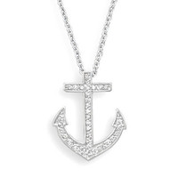 18&quot; Rhodium Plated CZ Anchor Necklace  - Nautical Jewerly -  Wooden Ship Models, Nautical Decor &amp; Gifts - GoNautical