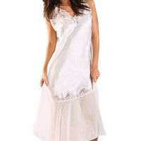 Long 100% Silk Chemise Nightgown with Lace and Chiffon Accents $39.99
