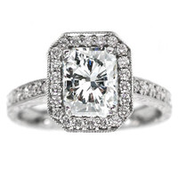 Engagement Ring - Radiant Cut Diamond Halo Engagement Ring Vintage Style 0.40 tcw. In 14K White Gold - ES49RA
