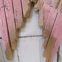 Pink and gold angel wings wall decor metal and wood  rusty distressed shabby cottage chic  home design by anita spero