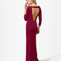 Sexy Maxi Dress - Burgundy Dress - Backless Dress - Long Sleeve Dress
