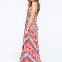 Angie Mietered Floral Print Smocked Maxi Dress Red  In Sizes