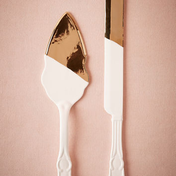 Gold-Dipped Ceramic Cake Serving Set