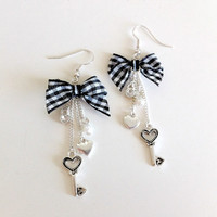Gingham Bow Heart Key Earrings