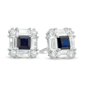 Princess-Cut Lab-Created Blue and White Sapphire Art Deco Stud Earrings in Sterling Silver