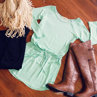 Drawstring Knit Tunic in Mint