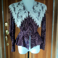 "Scott McClintock Blouse Vintage 80s Paisely Peplum Rayon Top/ Lace Collar 34"" 36""B"