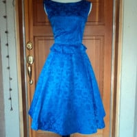 "Vintage 60s Brocade Electric Blue Peplum Cross over back Cocktail Dress 34"" B"