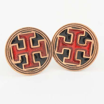 Cross cufflinks inspired by the Christchurch cathedral in Ireland in copper with black and red inlay