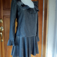 "Vintage 60s Dress Gunmetal Sparkle Micro Mini  Ruffles 36"" B"