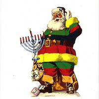 Universal Santa holiday cards set of 12 atheist christmas hanukkah kwanzaa, classic Claus